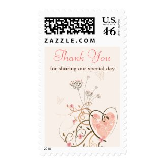 Sweet Heart & Butterfly Swirl Thank You Stamps stamp
