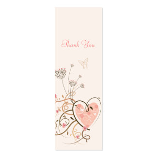 Sweet Heart & Butterfly Swirls Thank You Gift Tag/ Double-Sided Mini Business Cards (Pack Of 20)