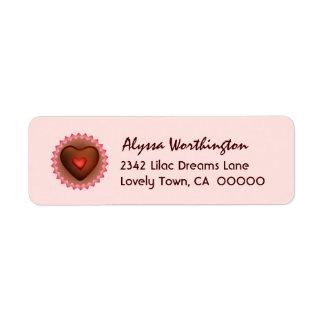 Sweet Heart Chocolate Candy A01 Return Address Label