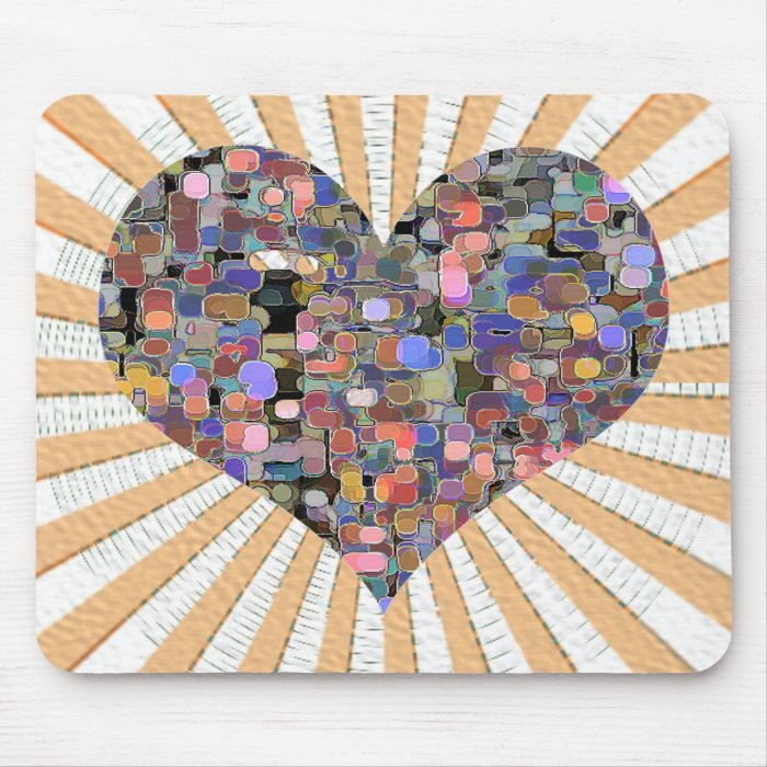 Sweet Heart Floral Marbles Mouse Pad
