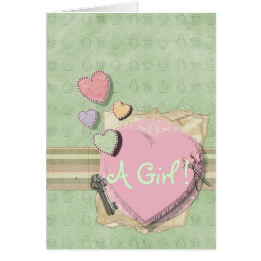 Sweet heart Girl Baby Shower Invitation Stationery