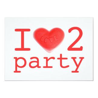 Sweet Heart 'I love 2 party' invitation