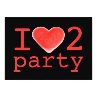 Sweet Heart 'I love 2 party' invitation black