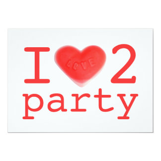 Sweet Heart 'I love 2 party' invitation red back