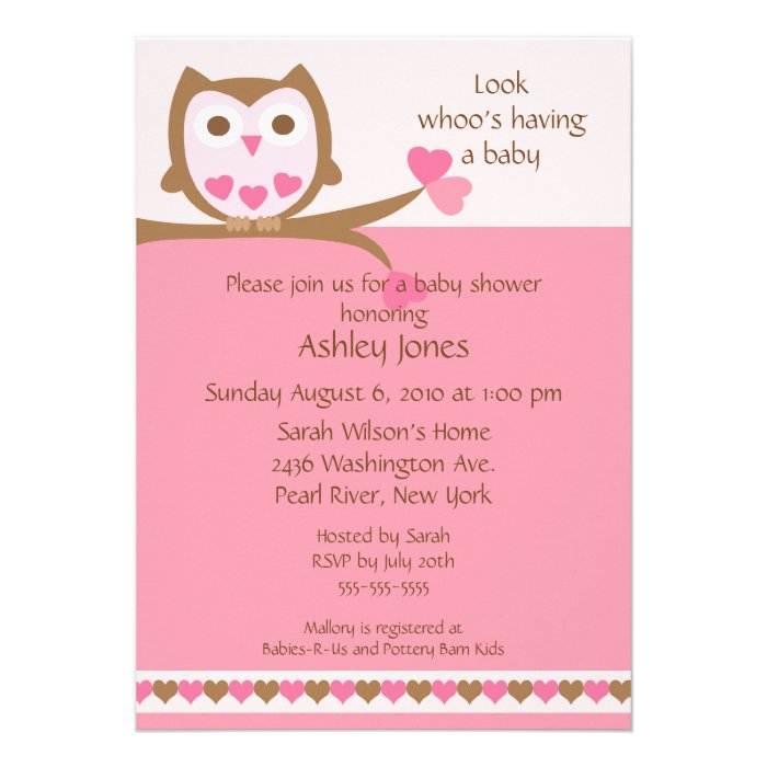 sweet heart owl baby shower custom invitations