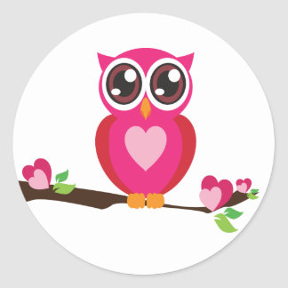 Sweet Heart Owl Classic Round Sticker