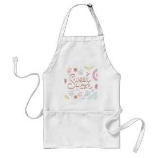 Sweet Heart. Pastel colourful text and print. Adult Apron