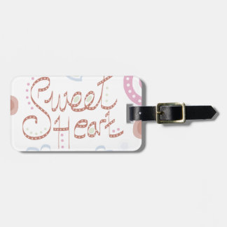 Sweet Heart. Pastel colourful text and print. Bag Tag