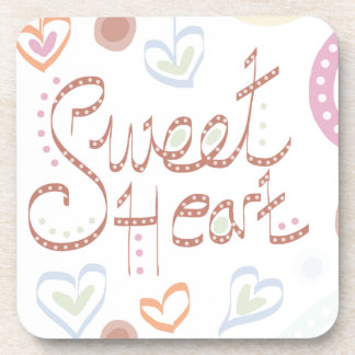 Sweet Heart. Pastel colourful text and print. Coaster