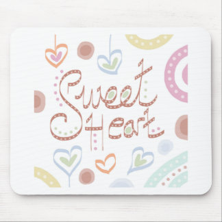 Sweet Heart. Pastel colourful text and print. Mouse Pad