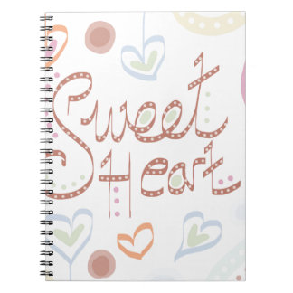 Sweet Heart. Pastel colourful text and print. Notebook