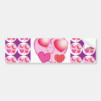 Sweet Heart Patterns  : Pink Theme Bumper Sticker