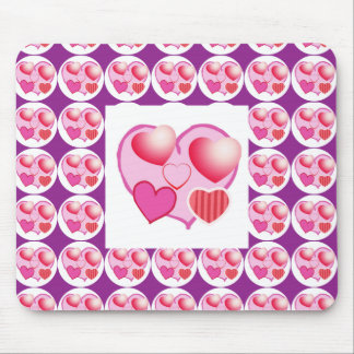 Sweet Heart Patterns  : Pink Theme Mouse Pad
