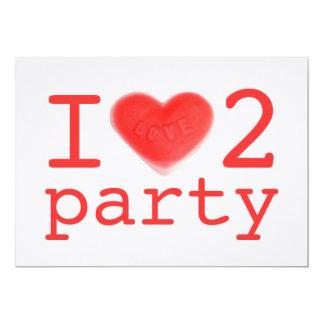 Sweet Heart Pink 'I love 2 party' invitation