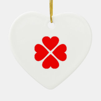 Sweet heart talisman clover sheet heart turn out w ceramic ornament