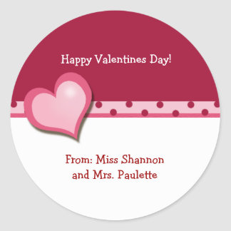 Sweet Heart Valentines Day Favor Sticker (DOTS)