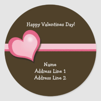 Sweet Heart Valentines Day Round Address Labels