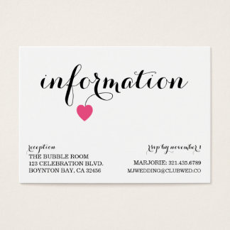 Sweet Heart Wedding Additional Info Card CANDY