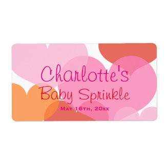 Sweet Hearts Baby Sprinkle Water Bottle Labels Shipping Label