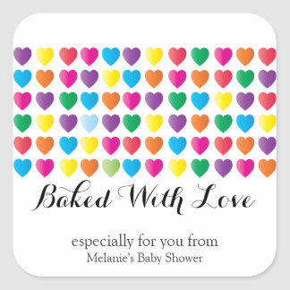 sweet hearts BAKED WITH LOVE custom party favor 1 Square Sticker
