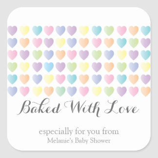 sweet hearts BAKED WITH LOVE custom party favor 2 Square Sticker