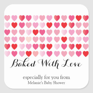 sweet hearts BAKED WITH LOVE custom party favor 3 Square Sticker