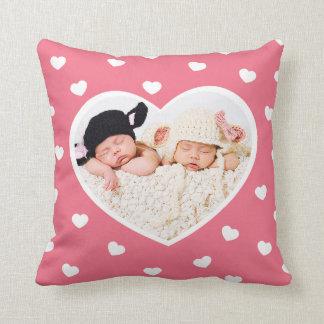 Sweet Hearts Custom Photo Pillow / Pink