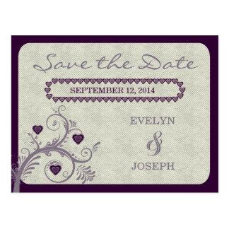 Sweet Hearts Eggplant Save the Date ID169 Postcard