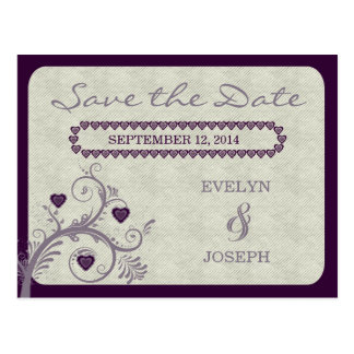 Sweet Hearts Eggplant Save the Date Postcard
