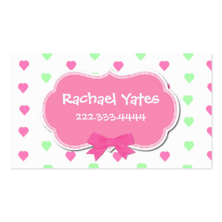 Sweet Hearts Girl's Play Date Card Double-Sided Standard Business Cards (Pack Of 100)