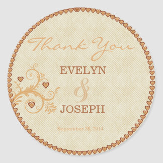 Sweet Hearts Gold Wedding Thank You Round Stickers