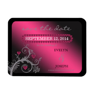 Sweet Hearts Pink Save the Date Rectangular Photo Magnet