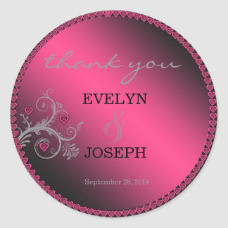 Sweet Hearts Pink Wedding Thank You Classic Round Sticker