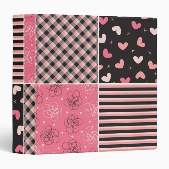 Sweet Hearts Plaid Pink Black Pattern Binder