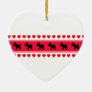 Sweet Hearts (Scotties) Ceramic Ornament