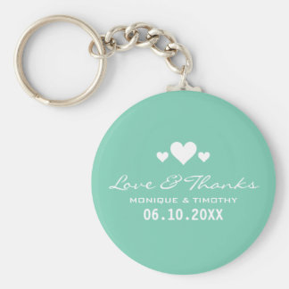 Sweet Hearts Soft Teal Wedding Thank You Basic Round Button Keychain