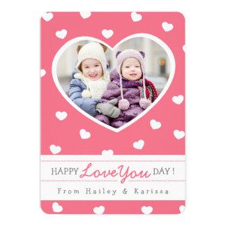 "Sweet Hearts Valentine Photo Card / Pink 5"" X 7"" Invitation Card"