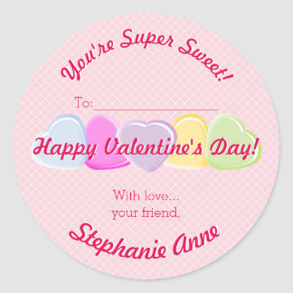 Sweet Hearts Valentines Candy Classic Round Sticker
