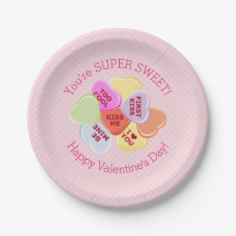 Sweet Hearts Valentines Candy Paper Plate