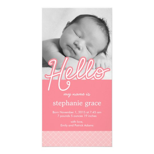 Sweet Hello Baby Birth Announcement - Pink