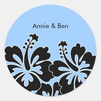 Sweet Hibiscus Wedding Envelope Seals Classic Round Sticker