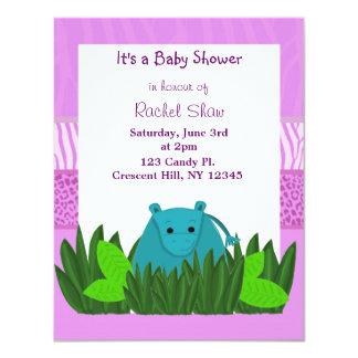 "Sweet  Hippo Baby Shower Invitation 4.25"" X 5.5"" Invitation Card"