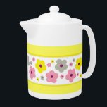 """Sweet Home 10 Teapot<br><div class=""""desc"""">This pattern features cute simple colored flowers in different sizes matching the background color. Check out all matching products in our Store.</div>"""