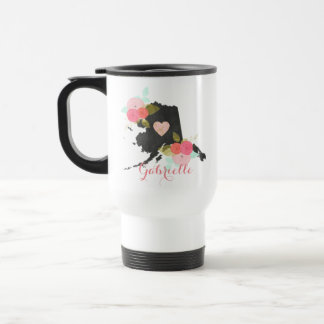 Sweet Home Alaska State Watercolor Floral & Heart Travel Mug