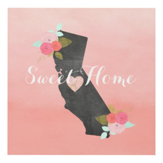 Sweet Home California State & Moveable Heart Panel Wall Art
