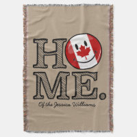Sweet Home Canada Smiling Canadian Flag Throw Blanket