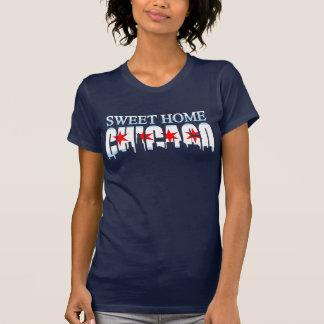 Sweet Home Chicago Flag Skyline Dark t shirt