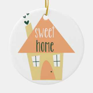 Sweet Home Double-Sided Ceramic Round Christmas Ornament