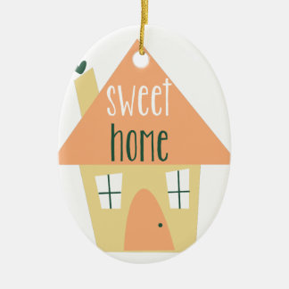 Sweet Home Double-Sided Oval Ceramic Christmas Ornament