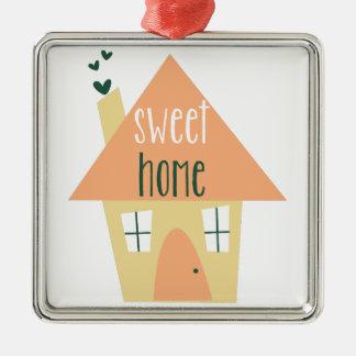 Sweet Home Square Metal Christmas Ornament